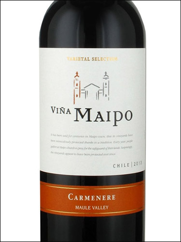 фото Vina Maipo Varietal Selection Carmenere Maule Valley Винья Майпо Карменер Долина Мауле Чили вино красное
