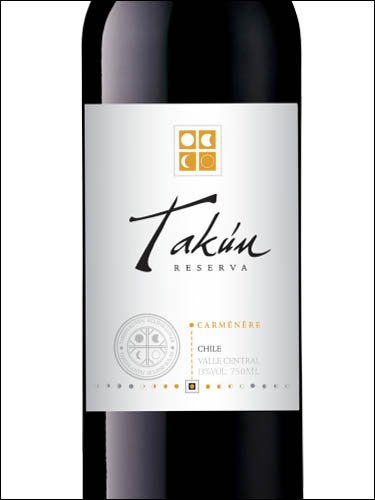 фото Takun Carmenere Reserva Central Valley DO Такун Карменер Ресерва Чили вино красное