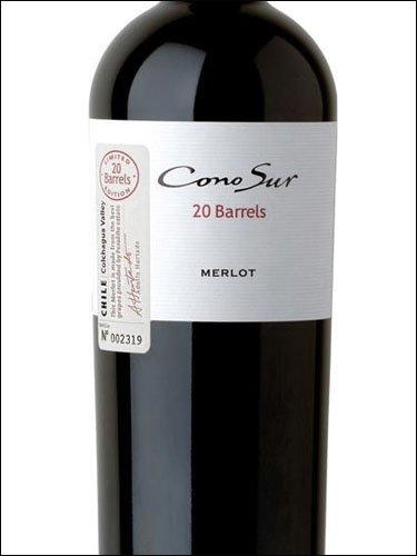 фото Cono Sur 20 Barrels Limited Edition Merlot Colchagua Valley DO Коно Сур 20 Баррелей Мерло Лимитед Эдишн Долина Кольчагуа Чили вино красное
